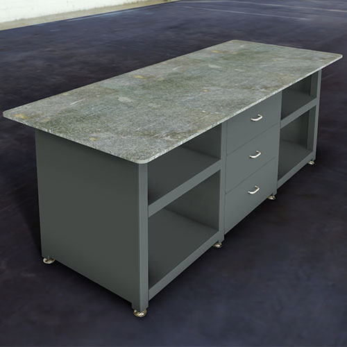 custom industrial workbench with drawers