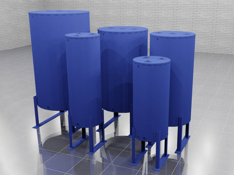 several sizes of standing cylindrical tanks