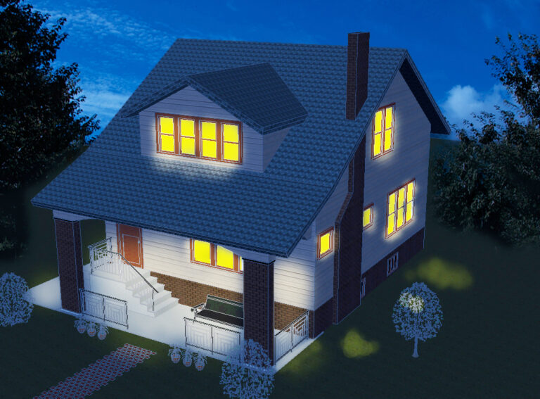 house with lights on rendering
