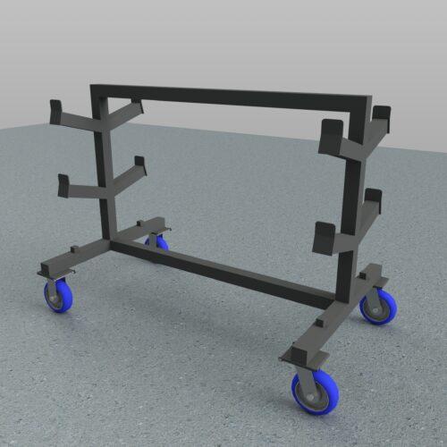 shaft rack on caster wheels