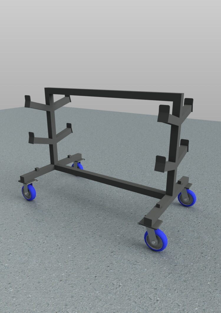 cad services - rendering of industrial shaft cart