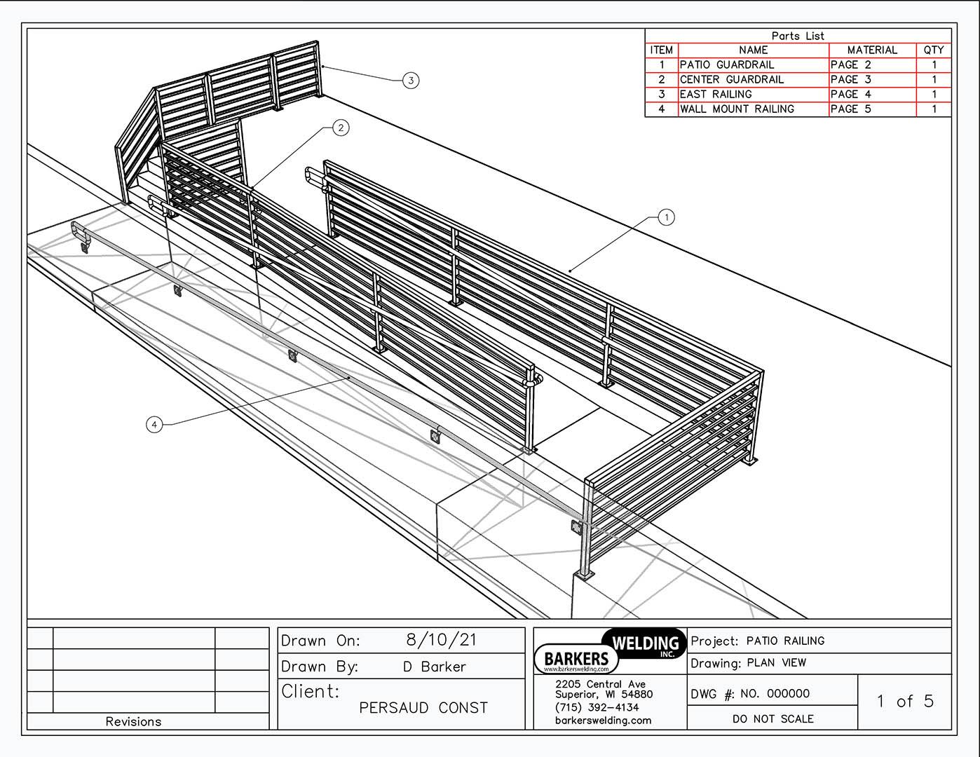 cad services - 3d plan view of handicap ramp railing