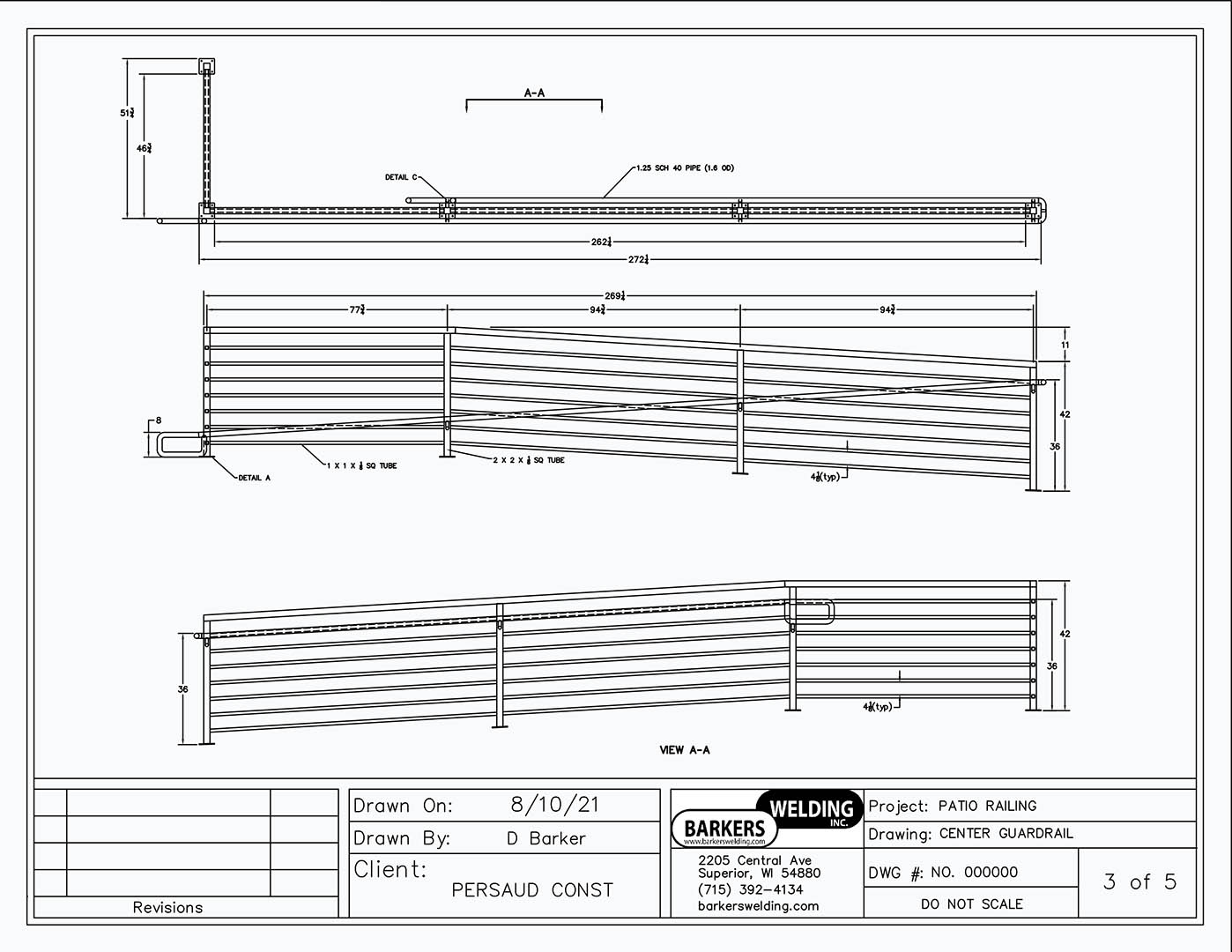 cad drawing of handicap ramp railing