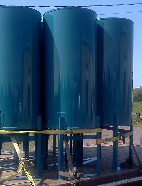 painted tanks out for delivery