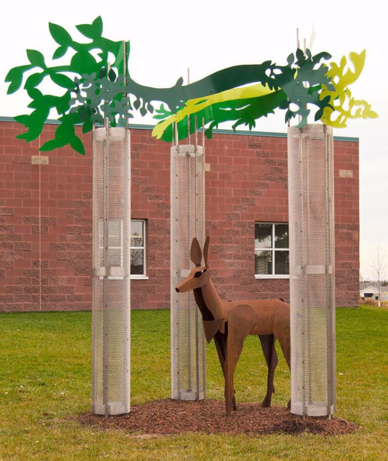 deer in forrest industrial art