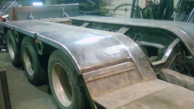 new fenders fabricated on lowboy trailer