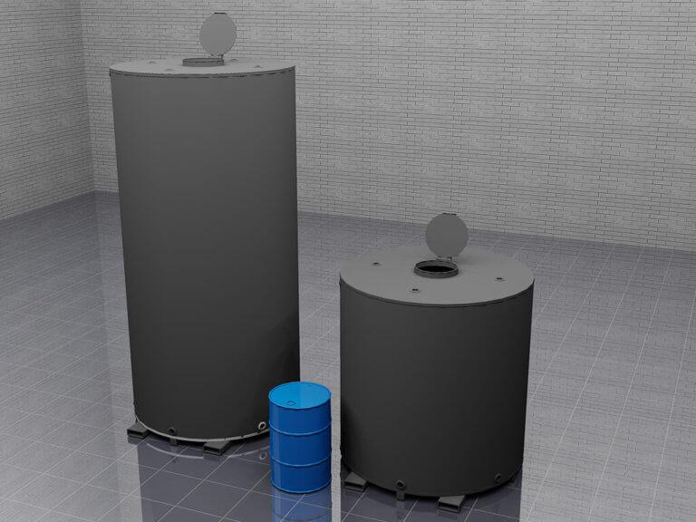misc tank sizes next to barrel